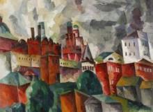 А. Лентулов, «Пейзаж с розовой башней», 1920 (фото kournikovagallery.ru)